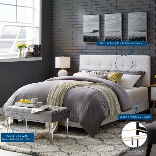 Modway - Amira Twin Upholstered Fabric Bed in White