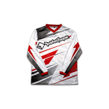 White Mesh Jersey with Red and Black Racing Design (L)