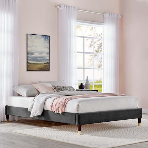 Harlow Twin Performance Velvet Platform Bed Frame in Charcoal