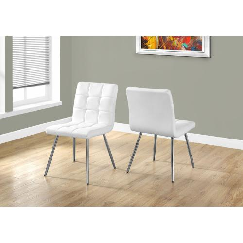 """DINING CHAIR - 2PCS / 32""""H / WHITE LEATHER-LOOK / CHROME"""