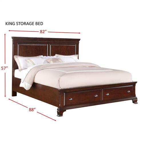 Canton Cherry King Storage Bed Cherry