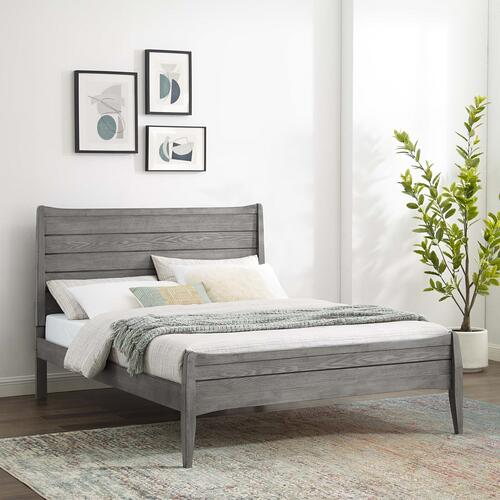 Georgia Twin Wood Platform Bed in Gray