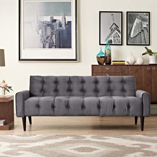 Delve Performance Velvet Sofa in Gray