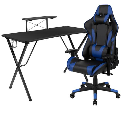 Flash Furniture - Black Gaming Desk and Blue Reclining Gaming Chair Set with Cup Holder, Headphone Hook, and Monitor\/Smartphone Stand