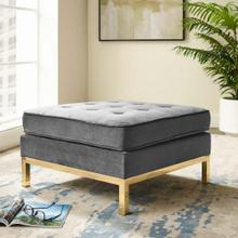 Loft Gold Stainless Steel Leg Performance Velvet Ottoman in Gold Gray