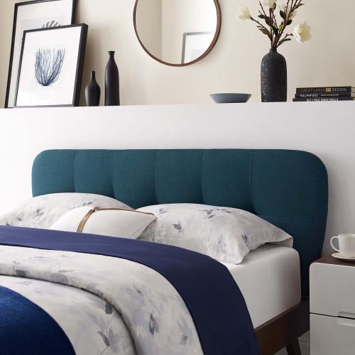 Gianna Queen Upholstered Polyester Fabric Platform Bed in Blue