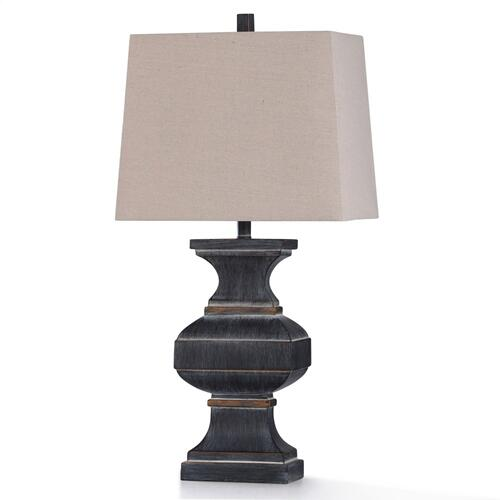 MALTA BLACK TABLE LAMP  13in w. X 33in ht.  Traditional Rubbed Slate Finish Wide Baluster Style Ta