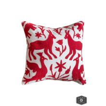 EDEN PILLOW- RED  Hand Embroidered Wool on Cotton  Down Feather Insert