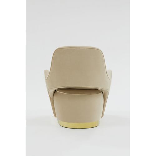 Divani Casa Visalia Modern Beige Velvet & Gold Accent Chair