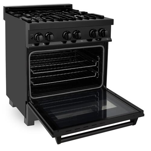 """ZLINE 30"""" 4.0 cu. ft. Dual Fuel Range with Gas Stove and Electric Oven in Black Stainless Steel (RAB-30) [Style: Black Stainless Steel with Brass Burners]"""