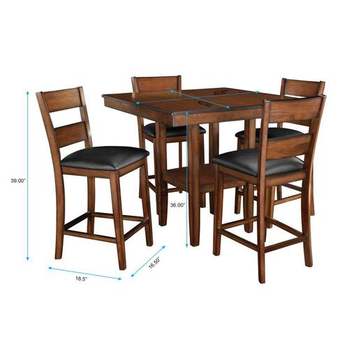 Pendleton Counter Height Table and Four Chairs Set, Dark Cherry Brown