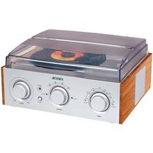 3-Speed Stereo Turntable with AM/FM Receiver & 2 Built-in Speakers