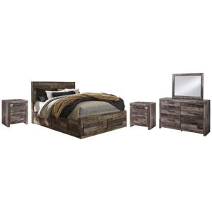 Queen Panel Bed With 6 Storage Drawers With Mirrored Dresser and 2 Nightstands