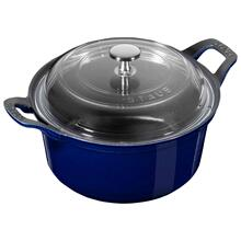 Staub Cast Iron 2.75-qt Round La Coquette with Glass Lid - Dark Blue