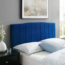 Camilla Channel Tufted Twin Performance Velvet Headboard in Navy