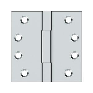 """4""""x 4"""" Square Knuckle Hinges, Solid Brass - Polished Chrome"""