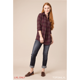 Gathered in Plaid Top - S/M Eggplant