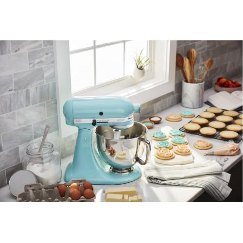 KitchenAid - Value Bundle Artisan® Series 5 Quart Tilt-Head Stand Mixer with Flex Edge Beater - Aqua Sky