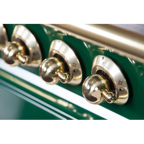 Nostalgie 48 Inch Dual Fuel Natural Gas Freestanding Range in Emerald Green with Brass Trim