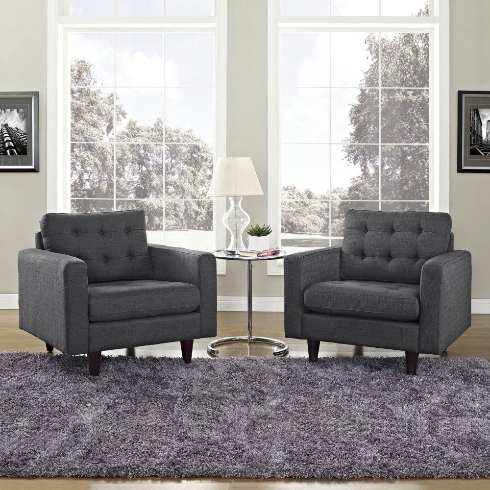 Empress Armchair Upholstered Fabric Set of 2 in Gray