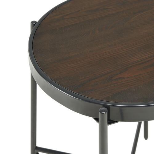 Vienna Round End Table with Wooden Top