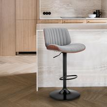 Brock Adjustable Grey Faux Leather and Walnut Wood with Black Finish Bar Stool
