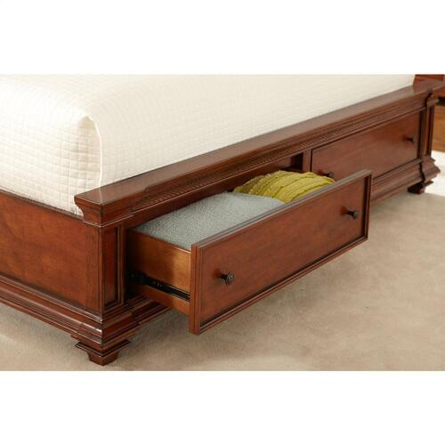 Queen Low Storage Footboard - Warm Rum Finish