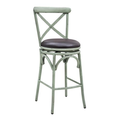 Distressed Antique Blue Metal Swivel Barstool