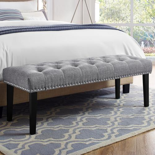 Grey Diamond Button Tufted Upholstered Bed Bench