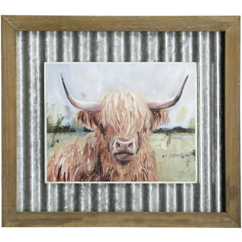 Style Craft - HIGHLAND GRAZER II  14in X 16in  Made in the USA  Textured Framed Print