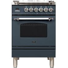 Nostalgie 24 Inch Dual Fuel Natural Gas Freestanding Range in Blue Grey with Chrome Trim