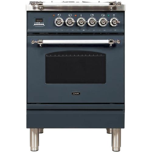 Ilve - Nostalgie 24 Inch Dual Fuel Natural Gas Freestanding Range in Blue Grey with Chrome Trim