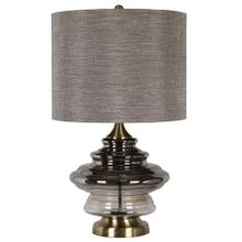 KIMBALL TABLE LAMP  Smoked Ombre Glass Body with Brass Finish on Metal Base  Hardback Shade  150