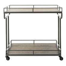 Dawson 2 Tier Rectangle Bar Cart - Rustic Oak/gun Metal