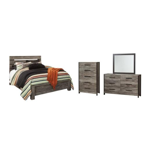 Queen Panel Bed With Mirrored Dresser and Chest