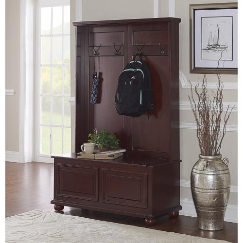 4-mounted Hooks and Hinged Storage Seat Hall Chest, Cherry