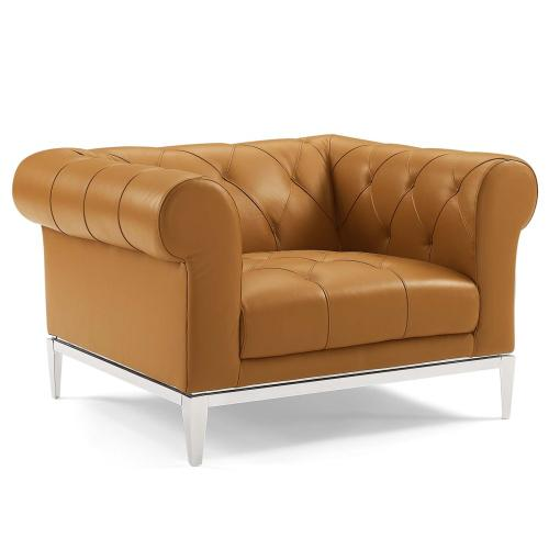 Idyll Tufted Button Upholstered Leather Chesterfield Armchair in Tan