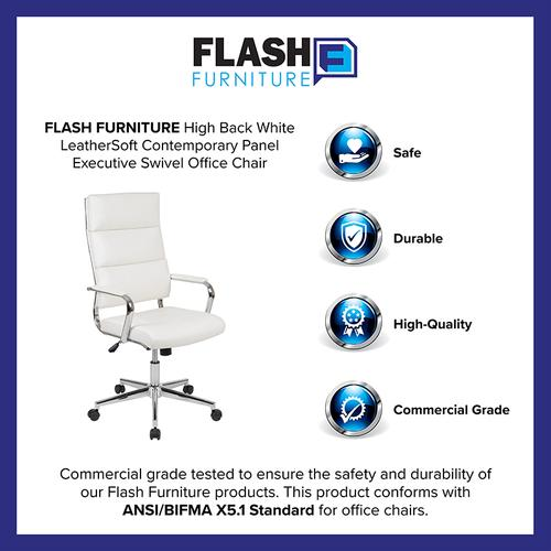 Gallery - High Back White LeatherSoft Contemporary Panel Executive Swivel Office Chair
