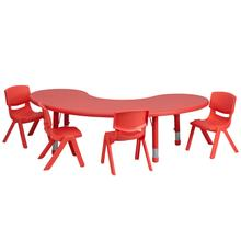 Product Image - 35''W x 65''L Half-Moon Red Plastic Height Adjustable Activity Table Set with 4 Chairs