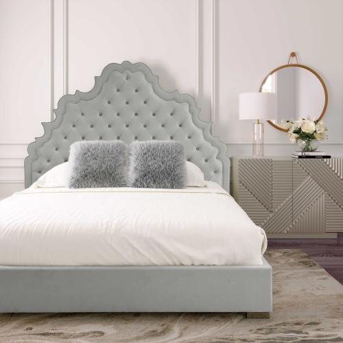 Carolina Grey Velvet Bed in Queen by Inspire Me! Home Decor