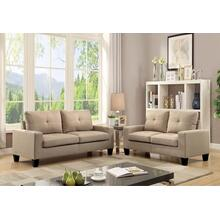 "71"" Beige Linen Platinum Sofa And Loveseat"
