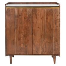 See Details - Milana Marble Bar Cabinet - Walnut / White