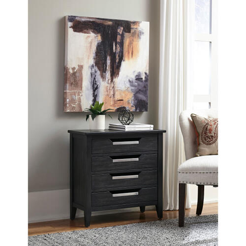 Tray Style 4 Drawer Accent Chest in Charcoal Black