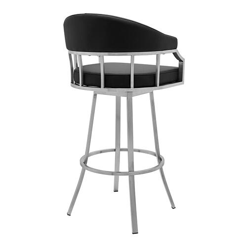 """Valerie 26"""" Counter Height Swivel Barstool with Brushed Stainless Steel Finish and Black Faux Leather"""
