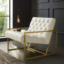 Bequest Gold Stainless Steel Performance Velvet Accent Chair in Ivory