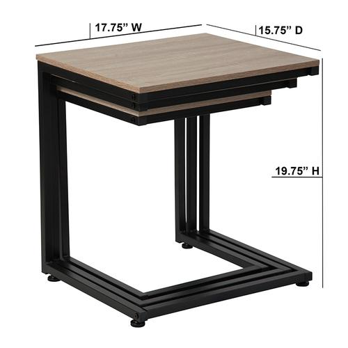 Flash Furniture - Midtown Collection Sonoma Oak Wood Grain Finish Nesting Tables with Black Metal Cantilever Base