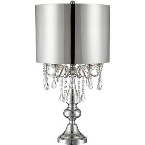 Table Lamp W/crystal Deco,chrome/silver Shade, E12 B 25wx5