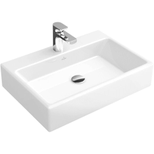 """Washbasin 24"""" Surface-mounted (Back of washbasin glazed) Angular - White Alpin"""