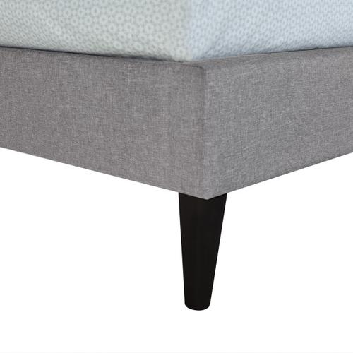Mid-Century Modern Button Tufted Twin-Sized Platform Bed in Gray
