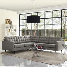 See Details - Empress 3 Piece Upholstered Fabric Sectional Sofa Set in Granite